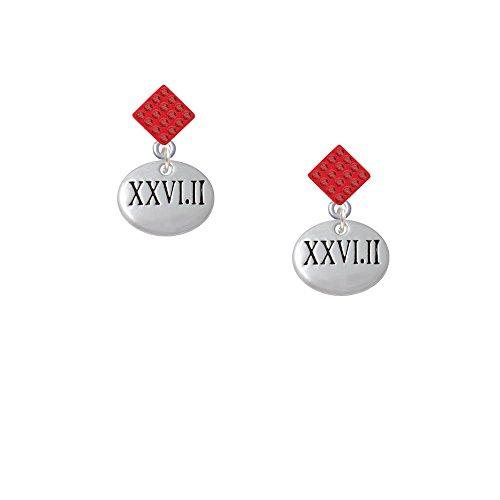 Marathon Roman Numeral - Red Lulu Diamond-Shaped Earrings