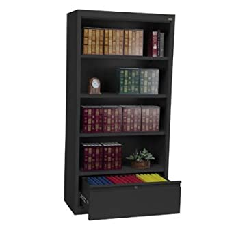 Sandusky Lee BD30361872-09 System Series Bookcase with File Drawer, Black