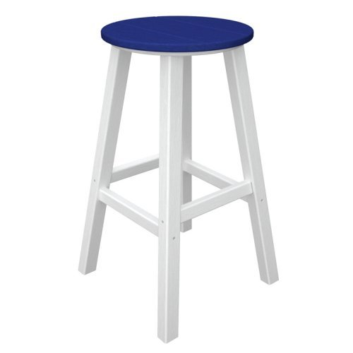 Polywood Recycled Plastic 30 in. Contempo Backless Bar Stool - Vibrant Dual Colors with White Frame - Set of 2 Color - Aruba Seat
