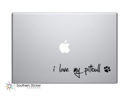 I Love My Pitbull Text Black Symbol Dog Puppy Heart Paw Bone Love Iphone Silhouette Decal Humor Macbook Symbol Iphone Disney Apple Ipad Decal Skin Sticker Laptop