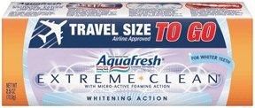 Aquafresh Extreme Clean Fluoride Toothpaste, Whitening action - 2.5 Oz Travel size Tube