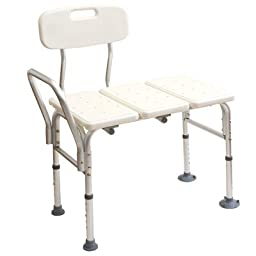 Medline Transfer Bench with Back, Push Buttons
