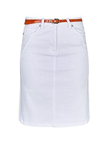 WomensBest Damen Jeans Rock Verona 38, weiß