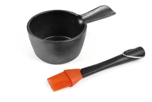 Charcoal Companion CC5099 Cast Iron Sauce Pan with Silicone Head Basting Brush