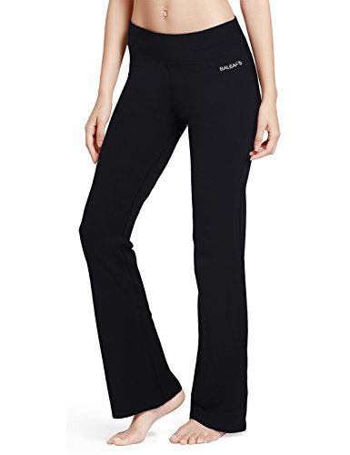 Baleaf Women's Yoga Bootleg Pants Inner Pocket Black Size S (Chart Size For Women compare prices)