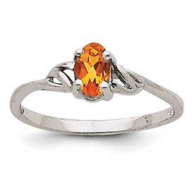 Genuine IceCarats Designer Jewelry Gift 14K White Gold Citrine Birthstone Ring Size 7.00