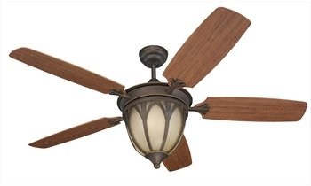 Monte Carlo 5GIR54RBD Grand Isle 54-Inch 5-Blade Outdoor Ceiling Fan with Remote, Light Kit and Teak ABS and Grain Blades, Roman Bronze