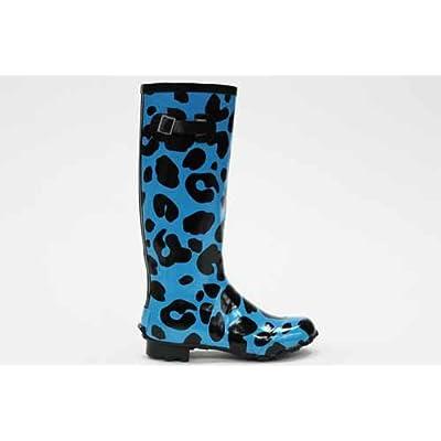JuJu Womens Blue Leopard Print Wellington Boots