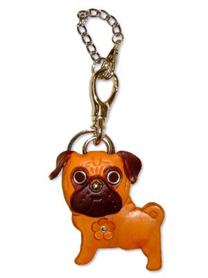 VANCA Craft Mascot Leather Dog Bag Purse Charms * PUG *