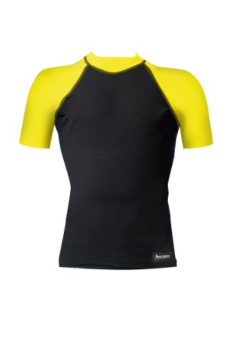 Aeroskin Nylon Short Sleeve Rash Guard with Color Accent (Black/Neon Yellow, Large)