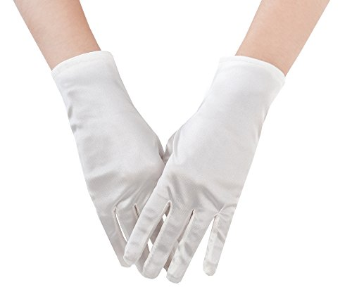 JISEN Lady Banquet Party Wedding Bridal Dance Short Gloves Colorful (White)