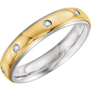 Sterling Silver & 10kt Yellow 5mm .05 CTW Diamond Band Size 13