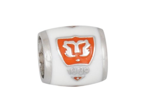 CLEMSON School Crest Tiger Shield on White Sterling Silver European College Charm Bead
