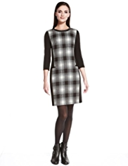 Autograph Faux Leather Panelled Checked Dress with New Wool