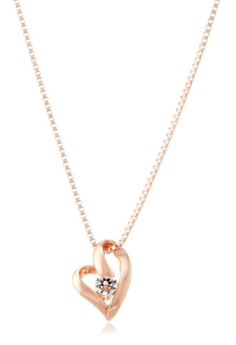 [Sears] Sears big Super CZ cubic zirconia necklace open heart necklace pink p6127-pp