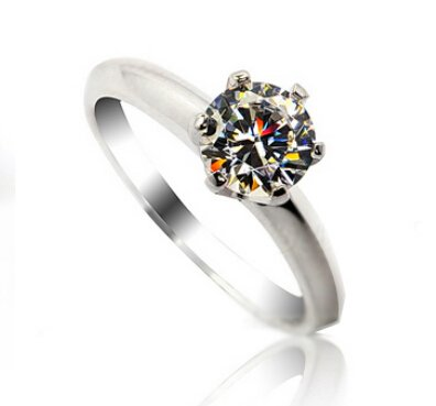 White Gold Plated 1ct Simulated Diamond Engagement Ring Size H-S