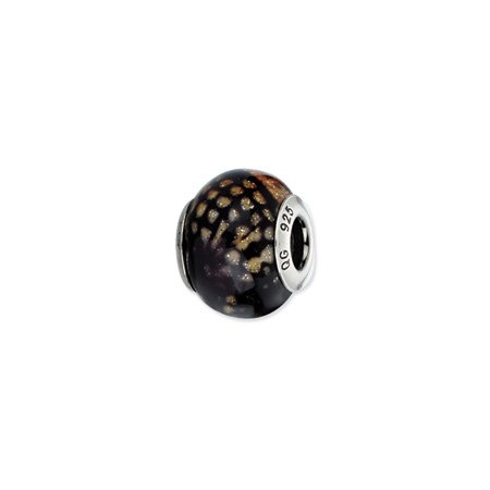 Dark Brown Python and Glitter Murano Glass Charm