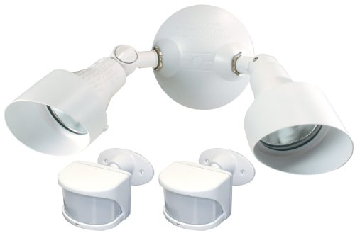 Heath/Zenith SL-6050-WH Halogen Security Light with Two Wireless Motion Sensors, White