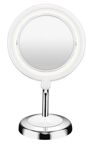 Conair Metal And Plastic Led Mirror, Chrome/White Finish