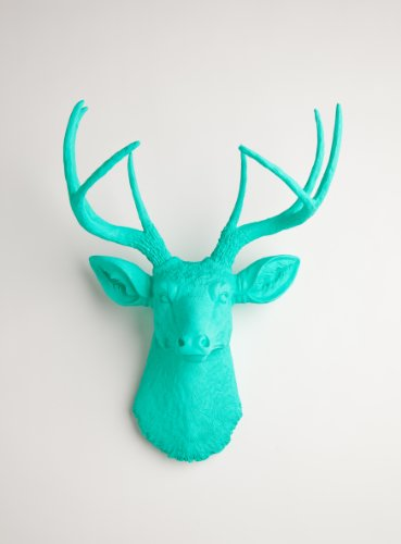 Popular The Penelope Resin Deer Head Turquoise Deer Head Wall Decor Stag Head Wall Mount Trophy Faux Taxidermy Animal Head Wall Hanging Sculpture Fake Animal Mounts