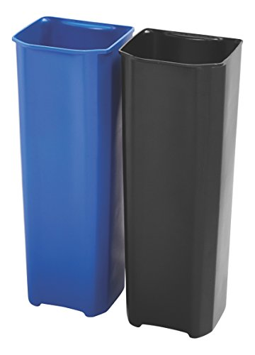 Rubbermaid Commercial Slim Jim Front Step-On Trash Dual Rigid Liner Set, Plastic, 13 Gallon, Black/Blue (13 Gallon Wastebasket Liners compare prices)