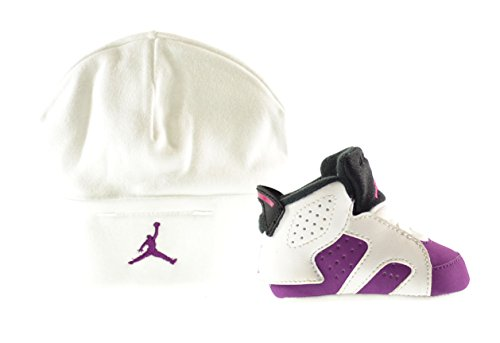 Jordan 6 Retro Gift Pack Infant Shoes White/Vivid Pink-Bright Grape-Black 525442-127 (1 M US)
