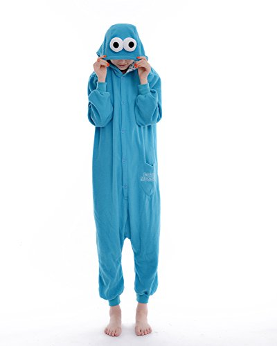 DAYAN Costume di Cosplay del fumetto pigiama animale tuta Tutina Outfit adulti Unisex maschio femminile Sleepwear Blu Sesame Street L