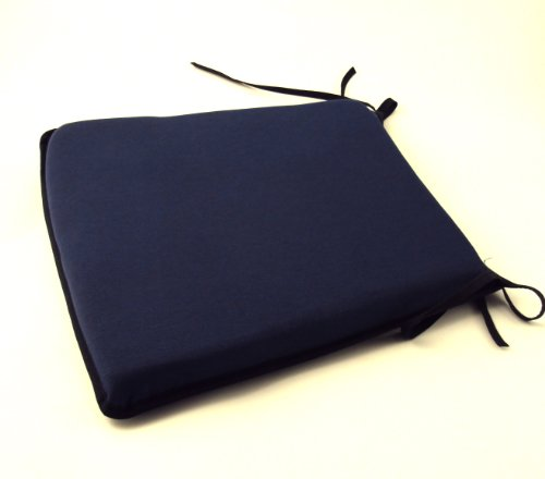 Large Plain Navy Blue Tie-On Chair Kitchen/Dining Room/Patio Seat Pad Cushion