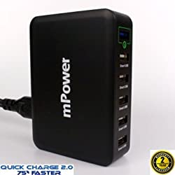 60W 6-Port USB Desktop Travel Charger with Muiti Voltage Port; Quick Charge 2.0 Technology - mPower ® [, Free Shipping] (Quick Charge 2.0 Black)