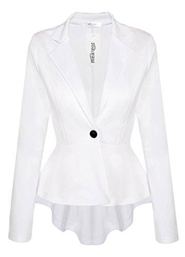 Meaneor Women's Crop Frill Shift Slim Fit Peplum Blazer Jacket Plus Size Coat White L