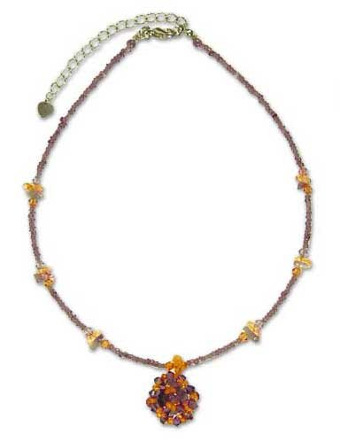 Amethyst and citrine pendant necklace, 'Purple Nosegay' 17.3