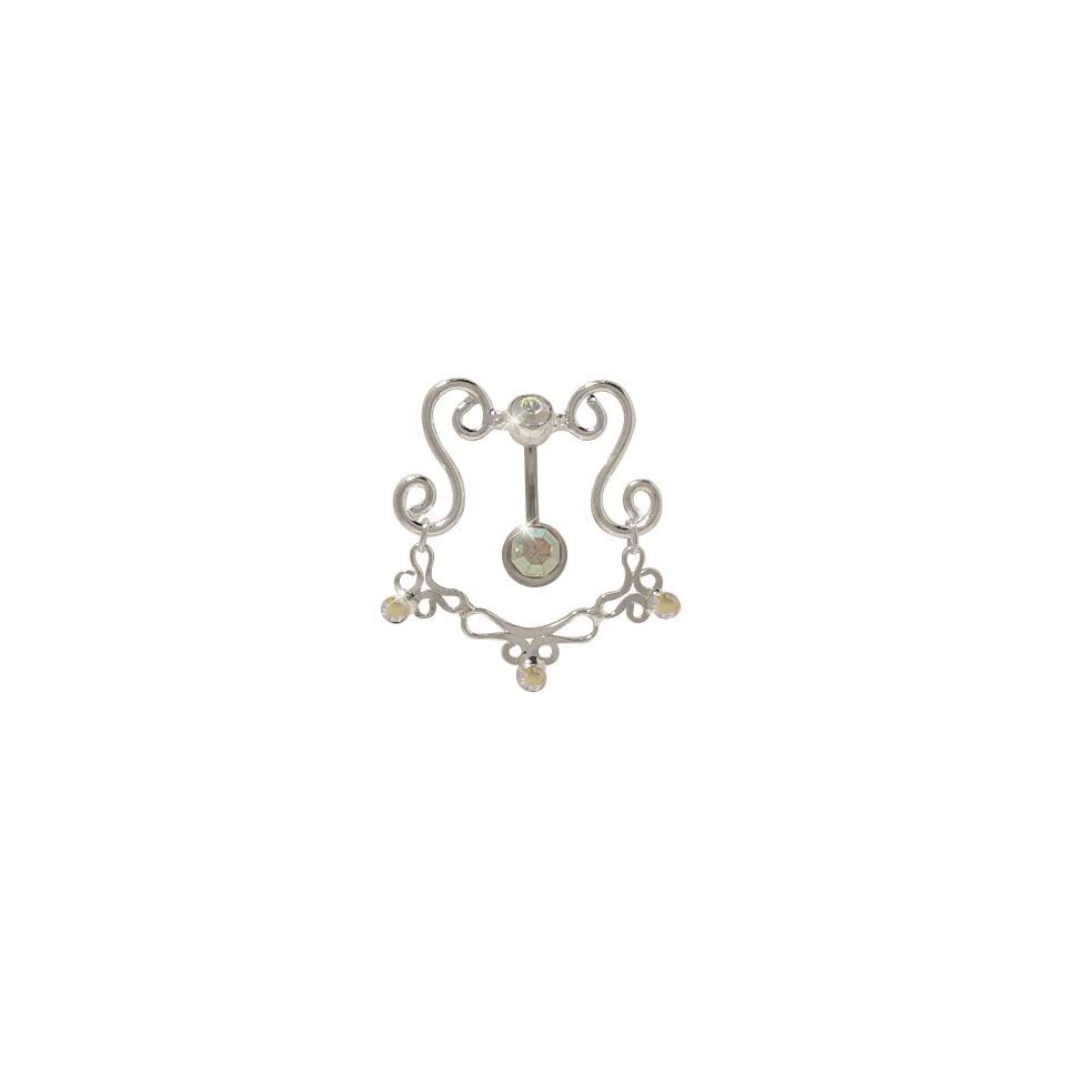 Classy Reversed Belly Ring with Opal Cz Gems