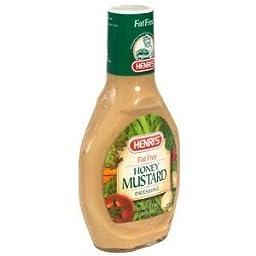 Henris Fat Free Honey Mustard Dressing 16 OZ (Pack of 18)