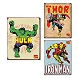 Tin Sign Set of 3 Hulk Thor Iron Man
