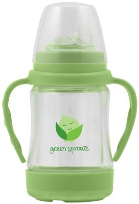 green sprouts Glass Sip 'n Straw Cup, Light Lime, 4 Ounce