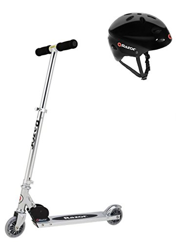 Razor A Kick Scooter Boys/Girls (Clear) & Child Helmet (Glossy Black)