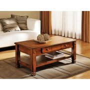 Summit Mountain Coffee Table, Rustic Oak, Large drawer for convenient storage (Butcher Coffee Cup compare prices)