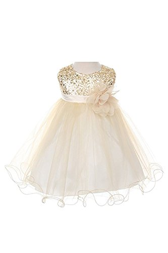 Absolutely Beautiful Sequined Bodice with Double Tulle Skirt Party flower Girl Dress-KD305-Gold-XL