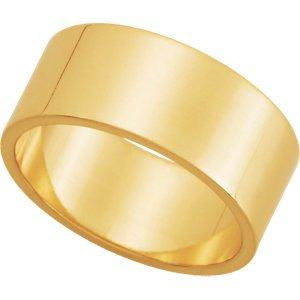 14K Yellow Gold Flat Wedding Band:8.00 mm: Size 5