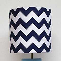 7x7 Handmade Navy Blue and White Chevron Lamp Shade