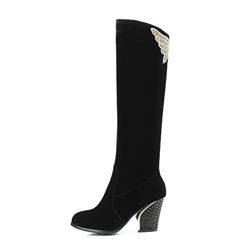 Voguezone009 Ladys Closed Round Toe High Heel Imitated Suede Solid Boots With Glass Diamond, Black, 35