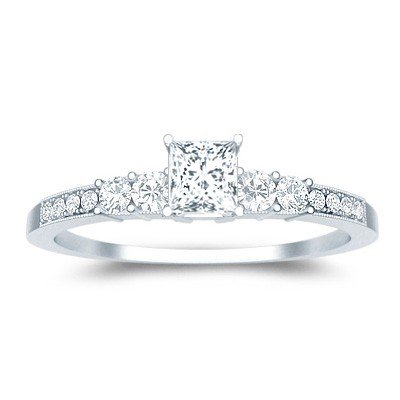 0.60 Carat Affordable Engagement Ring with Princess cut Diamond on 14K White gold