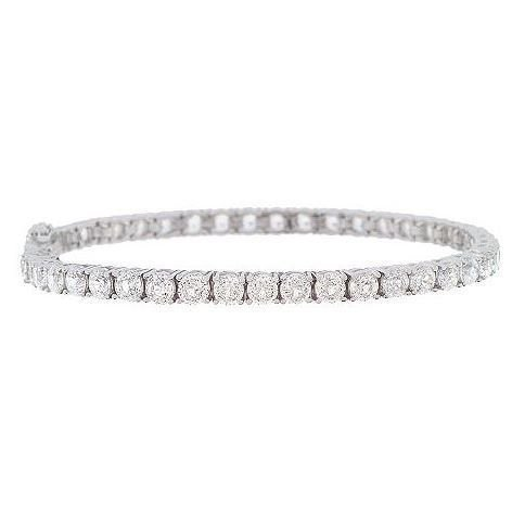 Platinum Plated Sterling Silver Round Cubic Zirconia