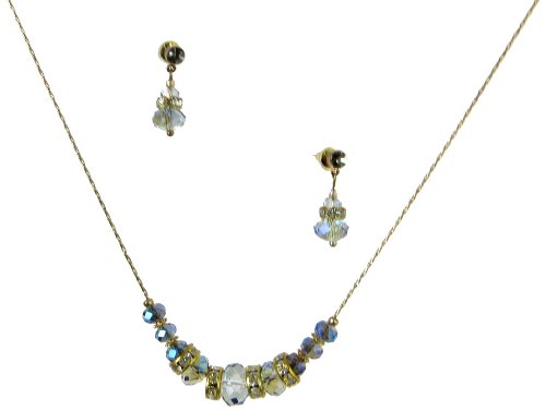 Jewelry Set, Montana Blue Rondelle Bead Necklace And Drop Earrings Set
