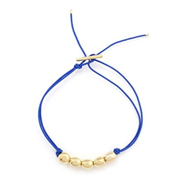 Brass Bead Threaded Bracelet (Navy) by Helena Rohner||RF10F