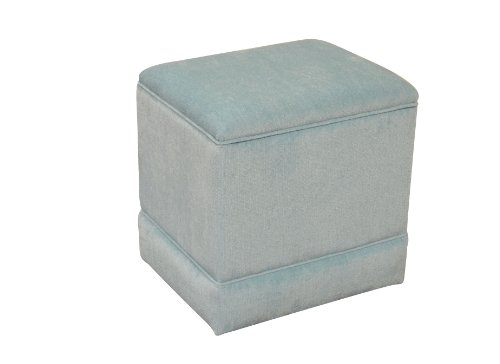 Storage Ottoman Pouffe Seat Stool Box in Duck Egg Blue Chenille Fabric