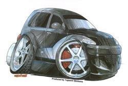 Kool Art - Black PT Cruiser Car - Sticker / Decal