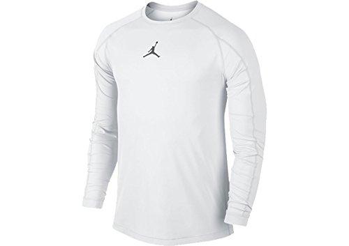 Nike Mens Jordan All Season Fitted Long Sleeve Training Shirt White/Cool Grey 642406-100 Size Small