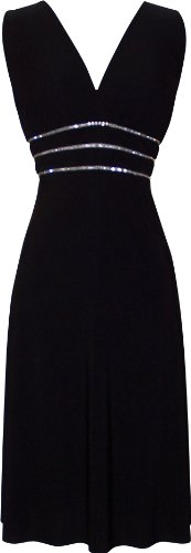 Sexy Little Black Cocktail Dress Crystals JR Plus Size, 1X, Black