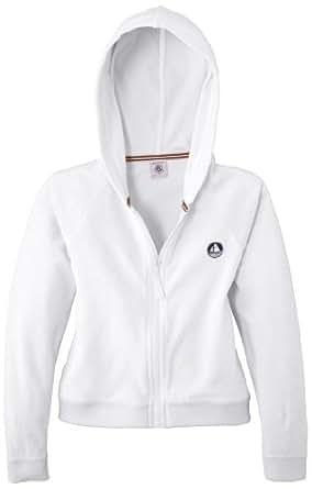 Petit Bateau - Sweat-shirt à capuche - Uni - Fille - Blanc (Écume) - FR: 5 ans (Taille fabricant: 5 ans)